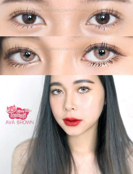 softlens mini ava brown kitty kawaii