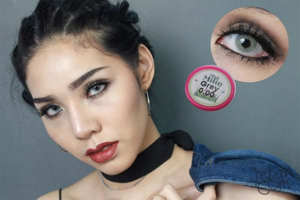 grey softlens mini milin kitty kawaii